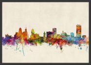 Medium Buffalo New York Watercolour Skyline (Pinboard & wood frame - Black)