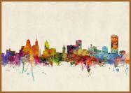 Large Buffalo New York Watercolour Skyline (Pinboard & wood frame - Teak)