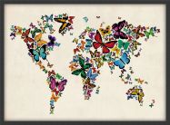Small Butterflies Map of the World 3 (Wood Frame - Black)