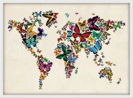 Small Butterflies Map of the World 3 (Wood Frame - White)