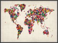 Large Butterflies Map of the World (Wood Frame - Black)