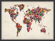Medium Butterflies Map of the World (Pinboard & wood frame - Black)