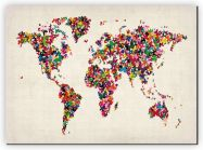 Small Butterflies Map of the World (Canvas)
