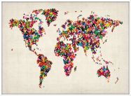 Large Butterflies Map of the World (Wood Frame - White)
