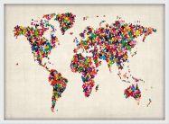 Medium Butterflies Map of the World (Wood Frame - White)