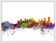 Medium Calgary Canada Watercolour Skyline (Wood Frame - White)