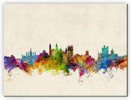 Huge Cambridge England Watercolour Skyline (Canvas)
