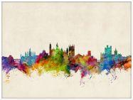 Large Cambridge England Watercolour Skyline (Wood Frame - White)