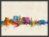 Medium Cape Town South Africa Watercolour Skyline (Wood Frame - Black)