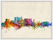 Medium Cape Town South Africa Watercolour Skyline (Wood Frame - White)
