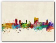 Huge Cardiff Wales Watercolour Skyline (Canvas)