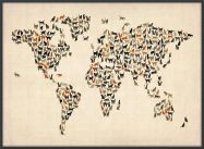 Large Cats Map of the World (Pinboard & wood frame - Black)