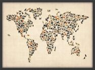 Small Cats Map of the World (Pinboard & wood frame - Black)