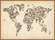 Large Cats Map of the World (Wood Frame - Teak)