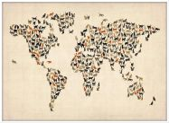 Large Cats Map of the World (Pinboard & wood frame - White)