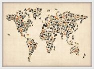 Medium Cats Map of the World (Wood Frame - White)