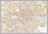 Huge Central London street Wall Map (Pinboard & framed - Silver)