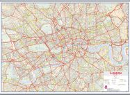 Huge Central London street Wall Map (Hanging bars)
