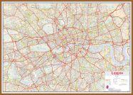 Large Central London street Wall Map (Pinboard & wood frame - Teak)