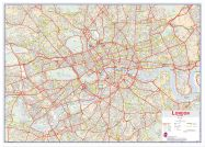 Large Central London street Wall Map (Wood Frame - White)