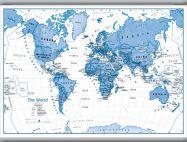 Medium Children's Art Map of the World Blue (Hanging bars)