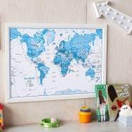 Medium Children's Art Map of the World Blue (Wood Frame - White)