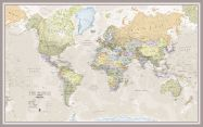 Large Classic World Map (Pinboard & framed - Silver)