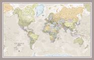 Small Classic World Map (Pinboard & framed - Silver)