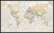Large Classic World Map (Pinboard & framed - Black)