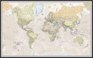 Large Classic World Map (Wood Frame - Black)