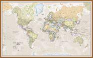 Large Classic World Map (Wood Frame - Teak)