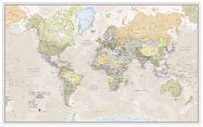 Large Classic World Map (Wood Frame - White)