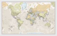Small Classic World Map (Wood Frame - White)