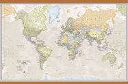 Huge Classic World Map (Rolled Canvas with Wooden Hanging Bars)