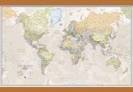 Medium Classic World Map (Wooden hanging bars)