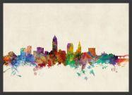 Medium Cleveland Ohio Watercolour Skyline (Wood Frame - Black)