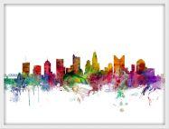 Small Columbus Ohio Watercolour Skyline (Wood Frame - White)