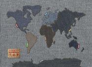 Medium Denim Map of the World (Rolled Canvas - No Frame)