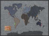 Large Denim Map of the World (Wood Frame - Black)