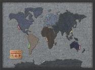 Medium Denim Map of the World (Wood Frame - Black)