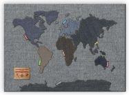 Medium Denim Map of the World (Canvas)