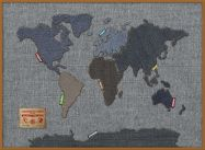 Large Denim Map of the World (Pinboard & wood frame - Teak)