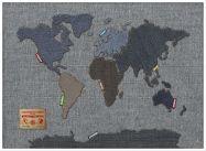 Large Denim Map of the World (Wood Frame - White)