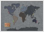 Small Denim Map of the World (Wood Frame - White)