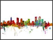 Large Denver Watercolour Skyline (Wood Frame - Black)