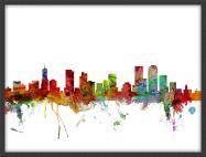 Medium Denver Watercolour Skyline (Pinboard & wood frame - Black)