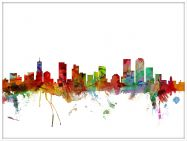 Large Denver Watercolour Skyline (Wood Frame - White)