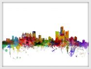 Small Detroit Watercolour Skyline (Pinboard & wood frame - White)