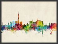 Medium Dubai Watercolour Skyline (Wood Frame - Black)