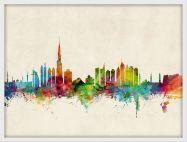 Small Dubai Watercolour Skyline (Pinboard & wood frame - White)